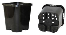 95mm Square Black Plastic UV Stabilized Garden Plant Pot x 20