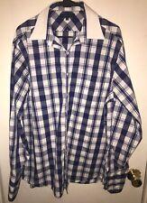Tommy Hilfiger Men's Size Medium 16 1/2 Gingham Button Down Dress Shirt Blue