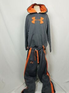 Under Armour Hoodie Sweat Suit Pants Youth SZ S XS Storm Gray Orange Fleece