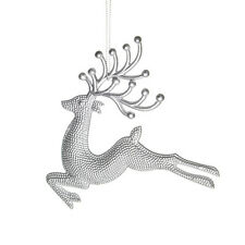 Silver Leaping Reindeer Hanging Tree Decoration Christmas Xmas Decoration Toy x3