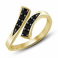 Over Silver Adjustable Bypass Toe Ring Fashion Jewelry Black Cz 14K Yellow Gold