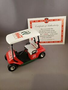 Coca Cola Golf Cart Spring 1996 Special Edition Money Bank with Key And Box 1/16