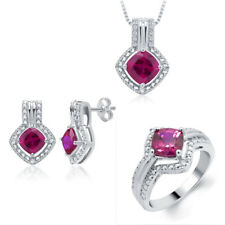 4.25ct Created Ruby Diamonds White Gold Plated Brass Ring Necklace Earrings Set