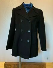 Larry Levine Women's Size 8 Double-Breasted Blk Winter Coat 100% Pure Camel Hair