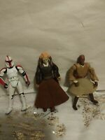 """Lot of 3 Star Wars Action Figures 3.5 & 4"""" Mace,Jedi Master, And Clone Commander"""