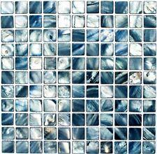 Muschelmosaik Perlmutt Mosaik blau grau Fliesenspiegel Wand 150-SM2582 10Matten