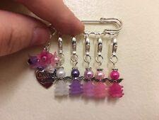 Fatto a mano Snag GRATIS Rosa/Viola Angel Crochet Stitch Marker contatori/Spilla Pin