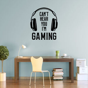Can't Hear You I'm Gaming Wall Sticker Vinyl Decals for Gamers or Gaming Room G5