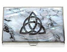 White Business Credit Card Case Holder metal mother of pearl Marble Celtic Knot