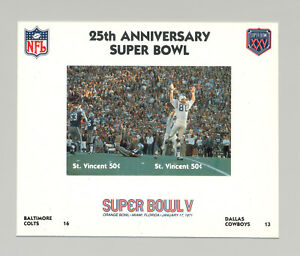 St Vincent #1404 Football Super Bowl V 1v M/S of 2 Imperf Chromalin Proof