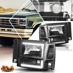 For 91-94 Ford Explorer C-LED DRL Bumper Headlight/Lamp Clear Side Corner Black