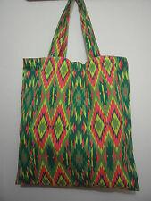 Cotton Canvas Tote Shopping Handbag Shoulder Bag Women Girls Purse-Green Red