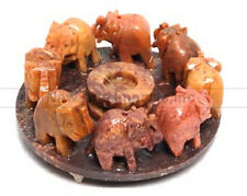 "Elephant Circle Incense Burner Soapstone for Sticks-Cones 4""D NEW {:-)"
