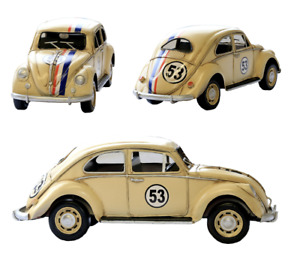 1934 Cream Tin Plate Model Herbie VW Beetle Rally Car With Red, White and Blue
