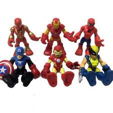 """6pcs 2.5"""" Playskool Marvel Super Hero Squad Spiderman Ironman Wolverine Figure"""
