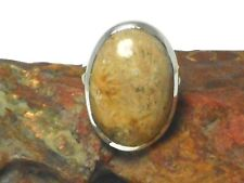 Fossilized   CORAL   Sterling  Silver  925   Gemstone  RING  -  Size :  N