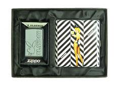 Playboy Bunny Zippo 2003523 + Zigarettenetui Pinup Polyflame in Geschenkset Neu