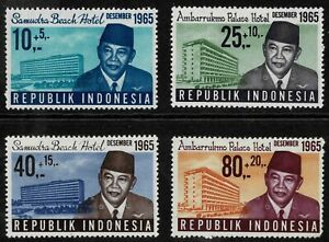 Indonesia 1965 Tourist Hotels Surtaxed - Set Of Four Stamps - MLH