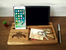 Wooden Phone Stand iPhone iPad Docking Station Wood Charging Station Dad Gifts