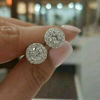 2.00 CT Round Cut Created Diamond Halo Stud Earrings in 14k White Gold Finish