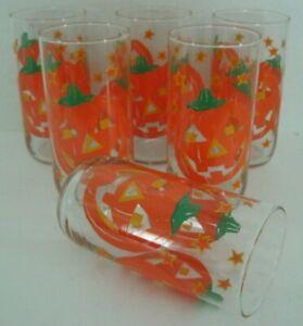 Vintage Libbey Halloween Jack O Lantern Pumpkin Drinking Glasses Tumblers (6)