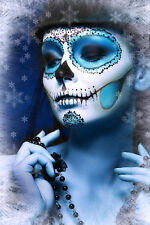 BEAUTIFUL MEXICAN SUGAR SKULL CANVAS PICTURE #59 STUNNING GOTHIC MAKE UP CANVAS