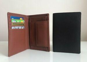 Mens Designer Leather Wallet with Coin Pocket Card Holder Travel Purse Blue Red