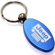Blue Aluminum Metal Oval Jeep Grille Logo Key Chain Fob Chrome Ring