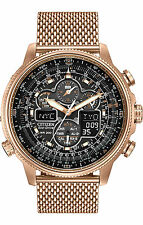 New Citizen Eco-Drive Navihawk Chrono AT Mesh Bracelet Men's Watch JY8033-51E
