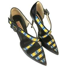 L.K. Bennett Women's Laura Bailey 'Monica' Patent and Canvas in Multi-Navy Shoes