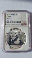 2015 China Silver Panda .999 Fine Silver 1 oz Coin, 10 Yuan, NGC MS69, GORGEOUS!