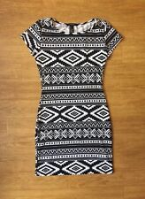 Forever 21 Tribal Print Bodycpn Dress Size Small, Sexy Black And White Dress