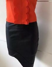 NEW WITH TAG DESIGNER BLOSSUM FAUX LEATHER BLACK ASYMMETRICAL MINI SKIRT RRP $39