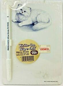 Vtg WRITE-ON WIPE-OFF Memo Board 1982 #437 Freelance Inc Kitten Cat Gemco NEW
