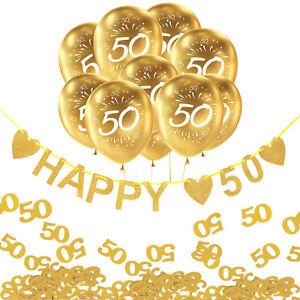 50. Geburtstag Goldene Hochzeit Deko Set - Girlande + Luftballons + Konfetti