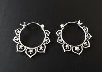 Genuine 925 Sterling Silver Hoop Earrings Tribal Ethnic Lotus Filigree Pattern