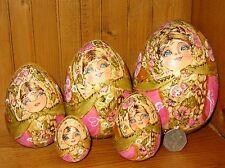 Russian nesting EGG dolls PINK GOLD Pyrography MAMAYEVA MATRYOSHKA 5 Babushka