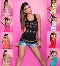 Women Top Clubbing Ladies Blouse Party Rip Effect Sexy Tank Shirt Size 6 8 10 12