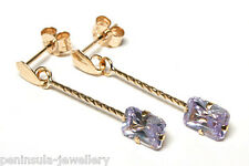 9ct Gold Lilac CZ long drop Earrings Made in UK Gift Boxed