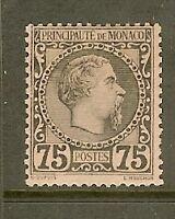 "MONACO STAMP TIMBRE N° 8 "" PRINCE CHARLES III 75c NOIR 1885 "" NEUF xx TTB SIGNE"