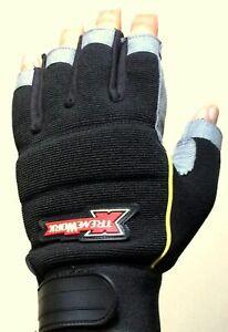 Work Glove Mechanics Max Performance Fingerless Syn Leather Padded Palm Gloves