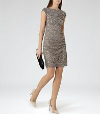 Reiss Ayda Mink Black Lace Pencil Cocktail Party Shift Dress Size 14 BNWT