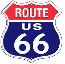 """Route 66 Red White Blue 11"""" Highway Shield Metal Sign Embossed Retro Home Decor"""