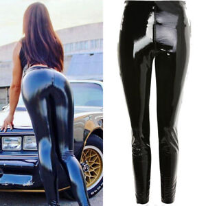 Ladies Elasticated Waistband Hi Gloss Vinyl PU Leggings Black trousers Size 8-14