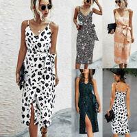 BOHO Women Ladies Summer Beach Midi Dress Holiday Strappy Print Maxi Sun Dresses
