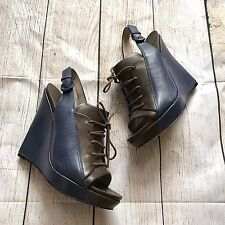 10 Crosby Derek Lam Womens Wedge Shoes Size 7.5 Brown Open Toe Platform