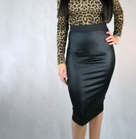 WOMENS WETLOOK  BODYCON SKIRTS LADIES WINTER WARM FAUX LEATHER MIDI PENCIL SKIRT