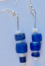 pretty and unique blue and white bead earrings