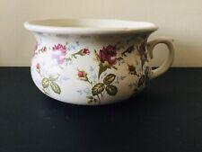 Vintage Heron Cross Pottery Small Chamber Pot Planter Pink  Flower Design