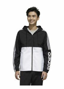 NWT Adidas Men's Ess. 3 Stripe Woven Jacket FL8627 Black/White 4XLT BIG & TALL